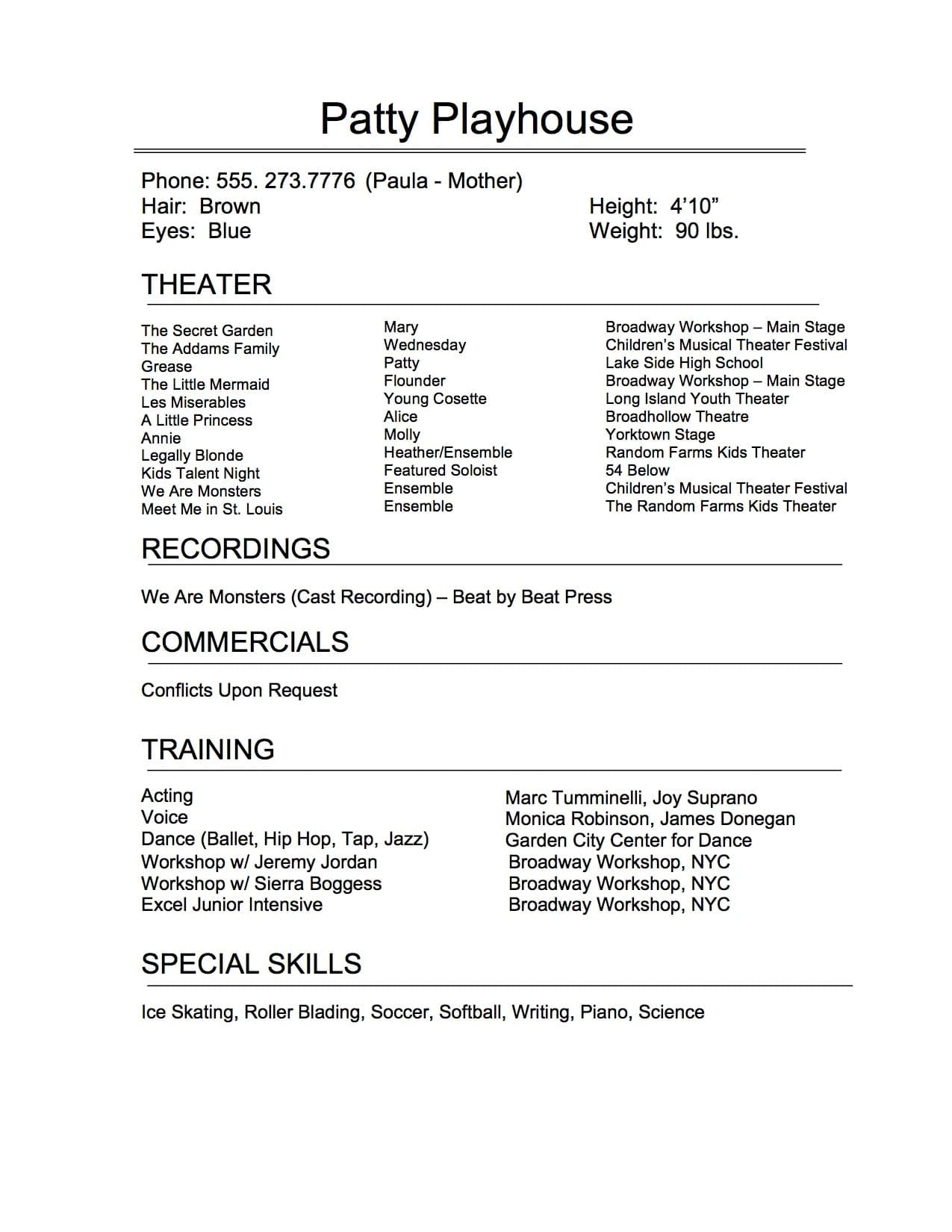 child musical theater resume